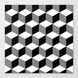 Cube Pattern Black White Grey Canvas Print