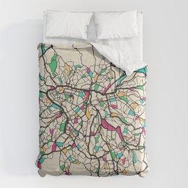 Colorful City Maps: Sao Paulo, Brazil Comforters