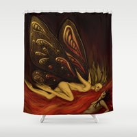 moth Shower Curtains featuring Moth by bravinto