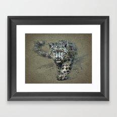 Snow leopard background Framed Art Print