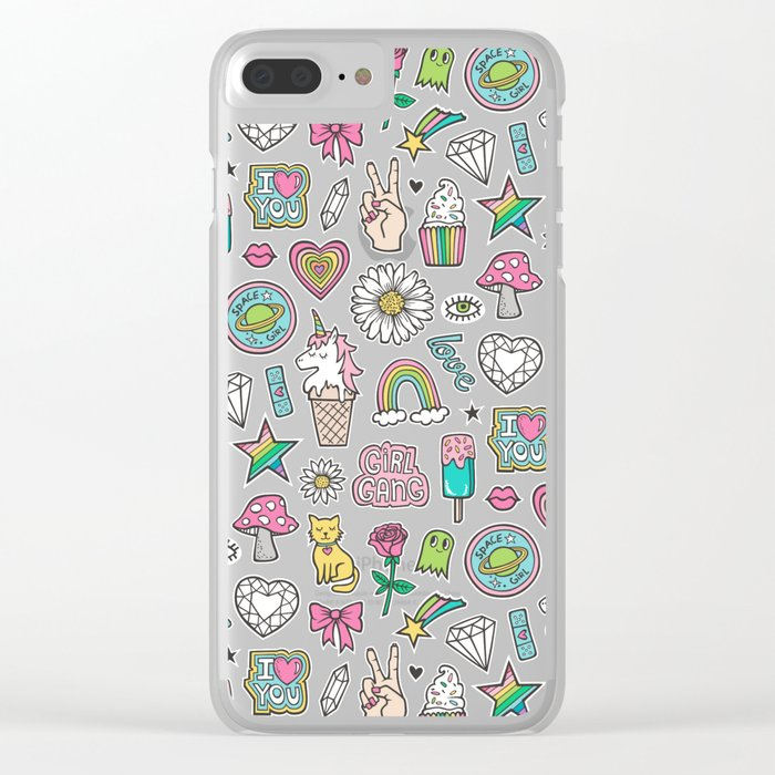 cheaper 8d62a 40294 Patches Stickers 90's Doodle Unicorn Ice Cream, Rainbow, Hearts, Stars,  Gemstones,Flowers Pink Clear iPhone Case by caja