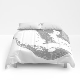 Sanibel island map grey Comforters