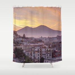 Napoli, landscape with volcano Vesuvio and sea Shower Curtain