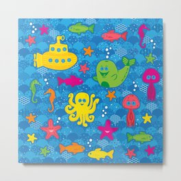 Silly Sea Creatures Metal Print