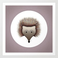 hedgehog Art Prints featuring hedgehog by ovisum