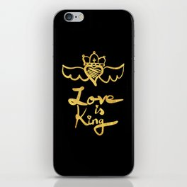 Love is king / black and gold iPhone Skin