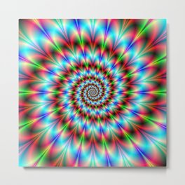 Spiral Rosette in Blue Green and Red Metal Print