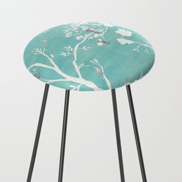 Chinoiserie Panels 1-2 White Scene on Teal Raw Silk - Casart Scenoiserie Collection Counter Stool
