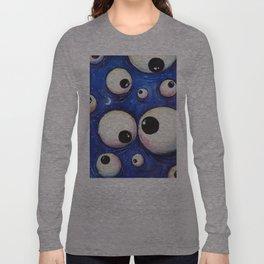 Blue Monster Eyes Long Sleeve T-shirt