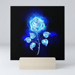 Burning Blue Rose Mini Art Print