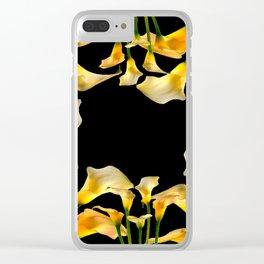 Golden Calla Lilies Black Garden Art Clear iPhone Case