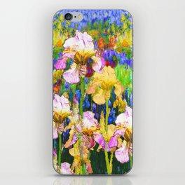 BLUE YELLOW IRIS GARDEN REFLECTION iPhone Skin