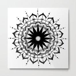 Original Mandala- black and white hand drawn with ink Metal Print
