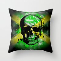 jamaica Throw Pillows featuring Jamaica circuit Skull. by seb mcnulty