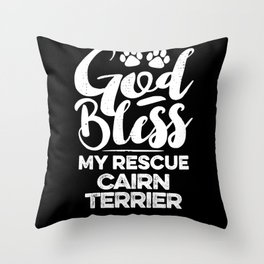 God Bless My Rescue Cairn Terrier Paw Print for Dog Walker Gift Throw Pillow