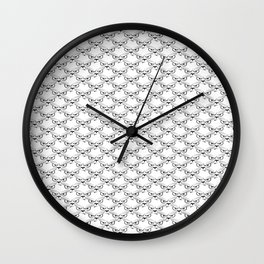 Black And White Cartoon Angry Cat Face Repeat Wall Clock