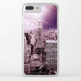 New New York : Galaxy City Dark Mauve Clear iPhone Case
