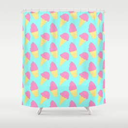 Pink Ice Cream on Blue Shower Curtain