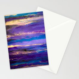 Amazonite Amethyst Sky: a colorful abstract piece in purples and blues by KKingCreations Stationery Cards