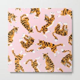 Cute tiger -big cat seamless pattern print, nursery illustration in scandinavian style, wild animal pink repeat design Metal Print