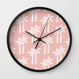 Palm Tree Pattern Dusty Rose Wall Clock