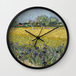 Field with flowers near Arles by Vincent van Gogh Wall Clock