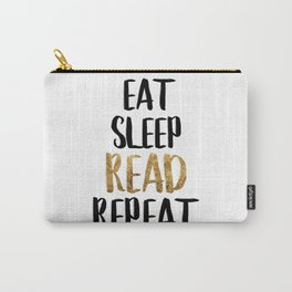 Eat Sleep Read Repeat Gold Carry-All Pouch