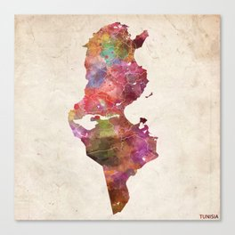 Tunisia map Canvas Print