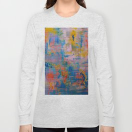 Summer in the Park, Blue Abstract Painting, Abstract wall art Long Sleeve T-shirt