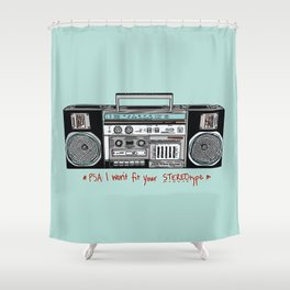 Stereo type Nonconforming | Casette Player | Radio | Hand-drawn Stereo Shower Curtain