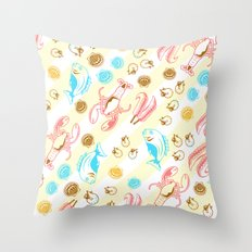 Colorful SeaFood Throw Pillow
