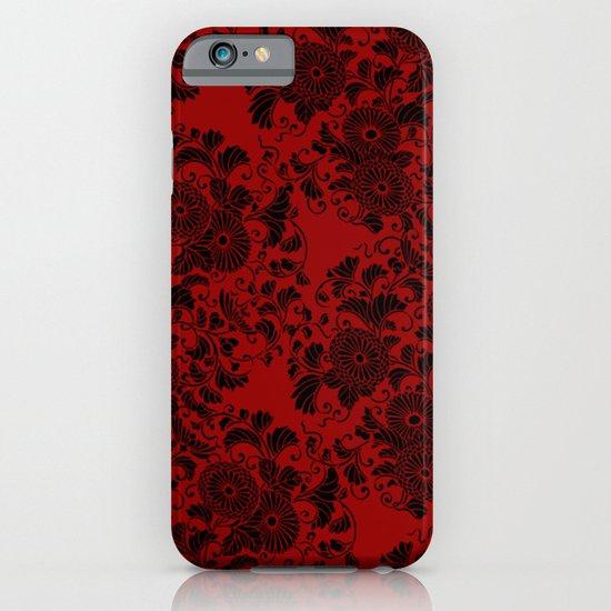 Chrysanthemum II Black on Red iPhone & iPod Case