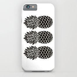 Pineapple Trio | Three Pineapples | Pineapple Silhouettes | Black and White | iPhone Case