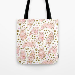 FRED the Kitty Pink Gold Chic Persian Cat Tote Bag