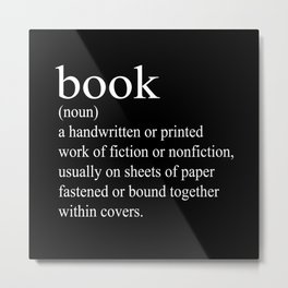 Book Definition (White on Black) Metal Print