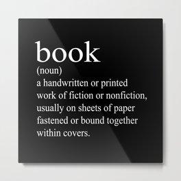 Book Definition (White on Black) Metal Print