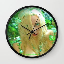 Nude sexy blond wet fairy wood nymph lady kashmir  Wall Clock