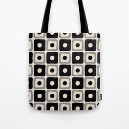 Mid Century Modern Square Dot Pattern 771 Black and Gray Tote Bag