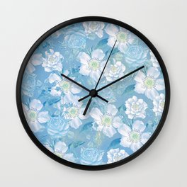 Blue Vintage Rose Pattern Wall Clock