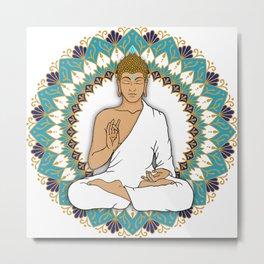 Mandala Abhaya Mudra Buddha Metal Print