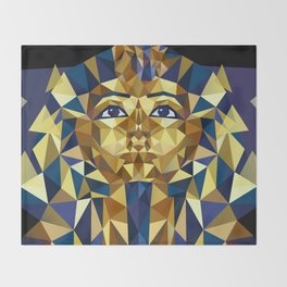 Golden Tutankhamun - Pharaoh's Mask Throw Blanket