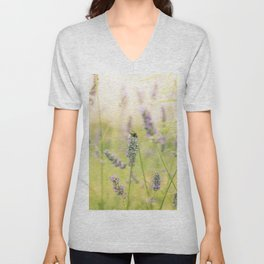 A bee on the lavender Unisex V-Neck