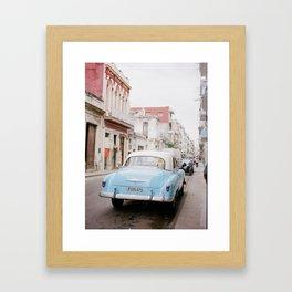 Classic Blue Car on the Streets of Cuba Framed Art Print
