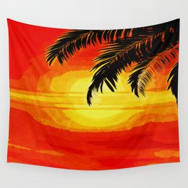Sunset under the Palm trees Wall Tapestry