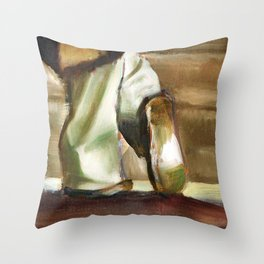 footprints of work Throw Pillow