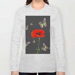 RED POPPY FLOWER & GREY BUTTERFLIES Long Sleeve T-shirt