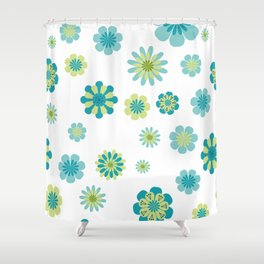 Floral Pattern in shades of green Shower Curtain