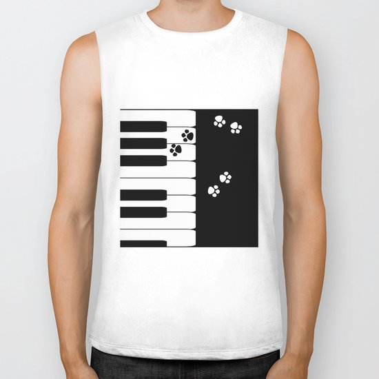 The keys of the piano . Creative black and white pattern . Biker Tank