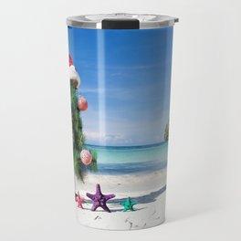 Christmas tree beach sand tropical island New Year Christmas sea Travel Mug