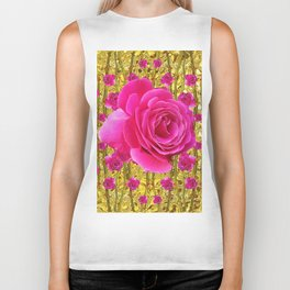"FUCHSIA PINK ""ROSES & THORNS""  GOLD ART  ROSE  PATTERNS Biker Tank"